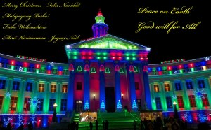 For many, many years this building has been decorated for Christmas, even since my childhood.  While it is a government building, it is paid for by a private foundation, in accordance with the will and wishes of the People of Denver.